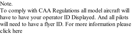 Note. To comply with CAA Regulations all model aircraft will have to have your operator ID Displayed. And all pilots will need to have a flyer ID. For more information please click here